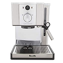 Breville ESP8XL Café Roma made of stainless steel with a 15 bar pressure pump.