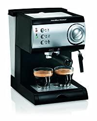 Hamilton Beach Espresso Machine with 15 bar Italian pump and removable 40oz water reservoir.