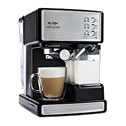 Mr. Coffee Cafe Barista Espresso and Cappuccino Maker with automatic milk frother and 15-bar pressure pump.