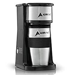 AdirChef Grab N' Go Personal Coffee Maker with 15oz travel mug.