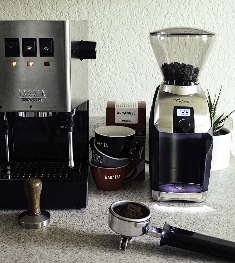 Baratza Virtuoso Plus Burr Coffee Grinder, 8oz bean hopper, 5oz grounds bin, 40 grind settings