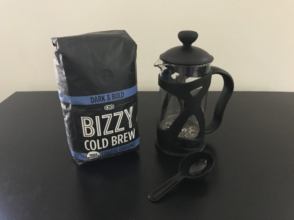 Bizzy Cold Brew Dark and Bold Course Ground with the KONA French Press