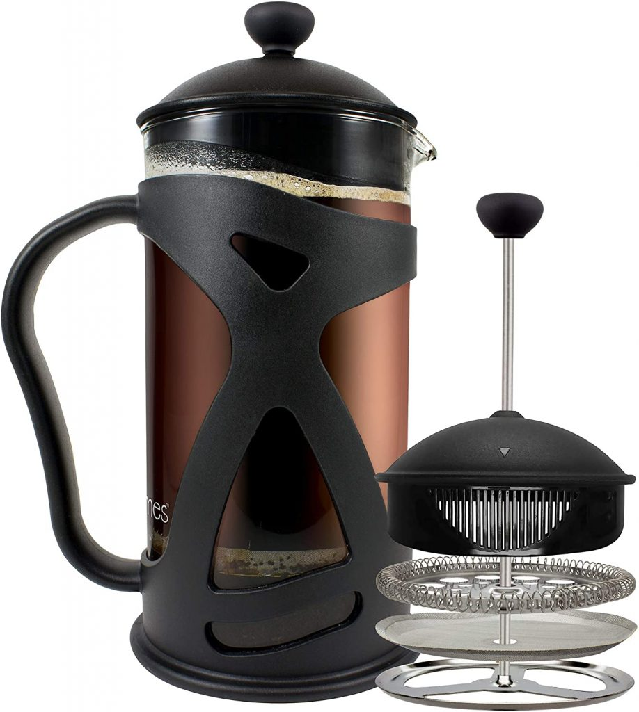 KONA French Press Coffee Maker with stainless steel filter, 34oz, in black