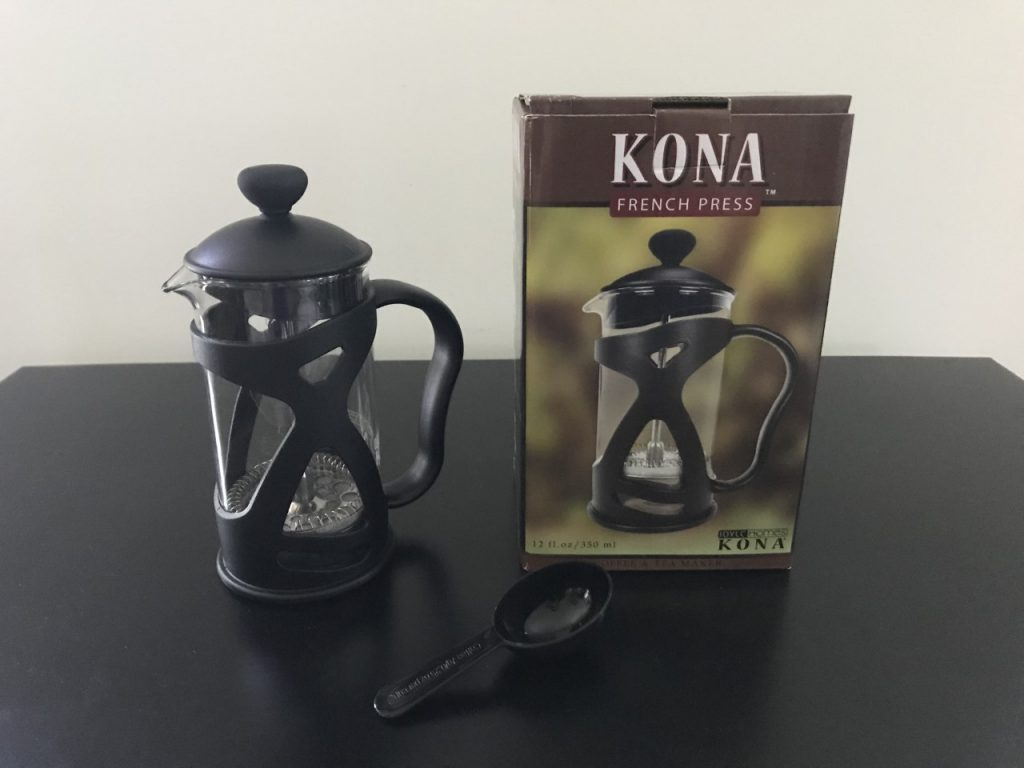 KONA French Press with 3 piece stainless steel filter and original box