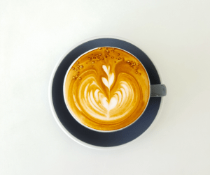 Cup of latte with latte art