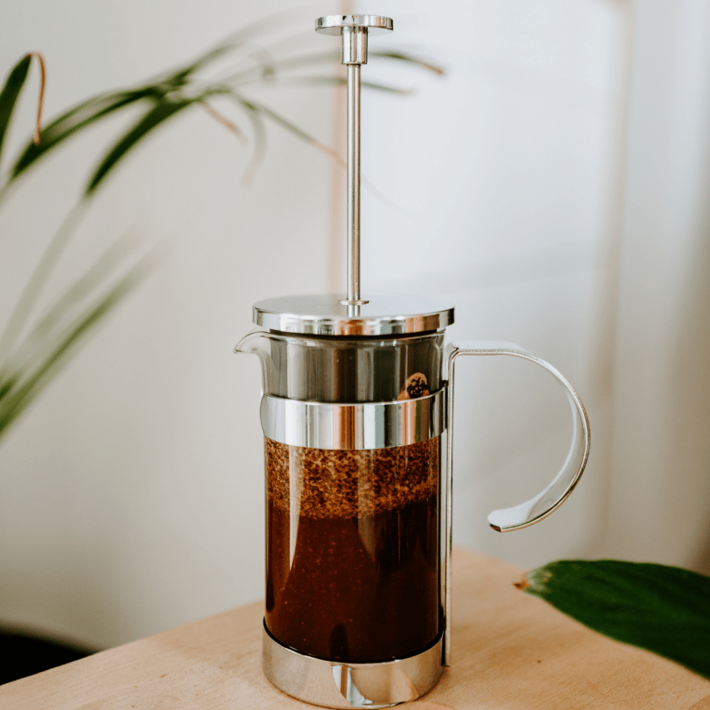 French press brewing coffee