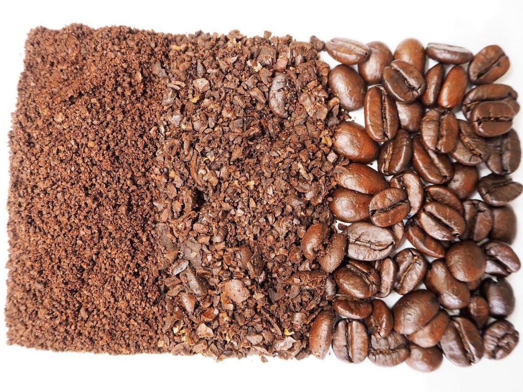 Medium ground coffee coarse ground coffee and whole beans