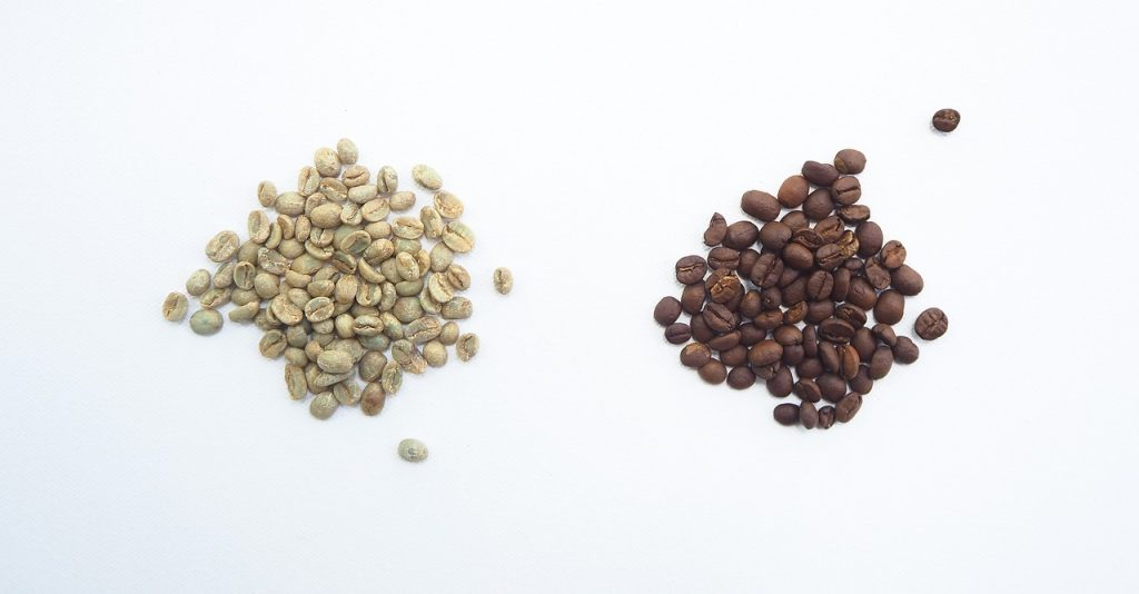 Green and Roasted Whole Coffee Beans